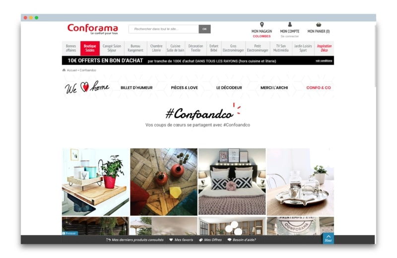 conforama social wall du site web