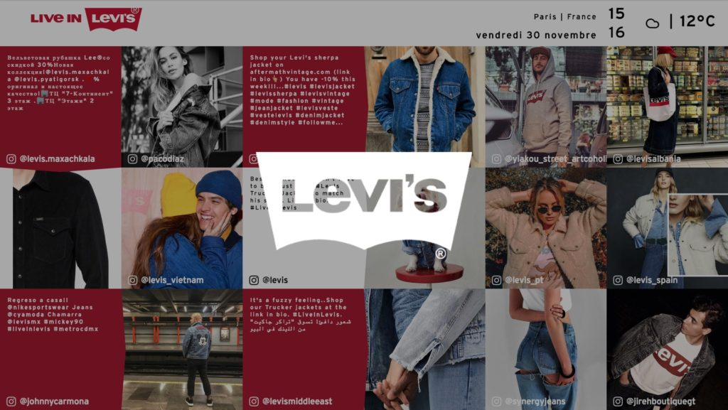 social wall realisé pour Levi's